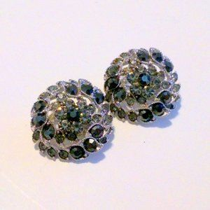 Pair of Vintage Silver Tone Gray Rhinestone Cluster Scatter Pins